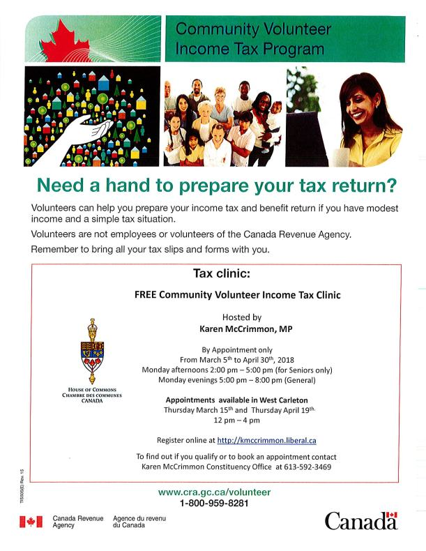 Free Income Tax Clinic Poster - 2018