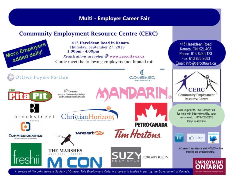 CERC Job Fair Flyer Sept. 2018